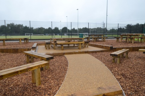 Resin bound gravel seating area at a school in Macclesfield